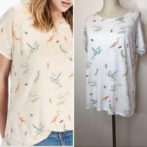 Lucky Brand bird print tee size XL linen cotton